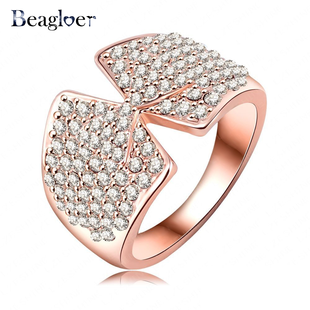 Beagloer Cute Bow Women Ring Rose Gold Color Pave Full Austrian Crystal Fashion Finger Rings Hot Selling Ri-HQ0380-A