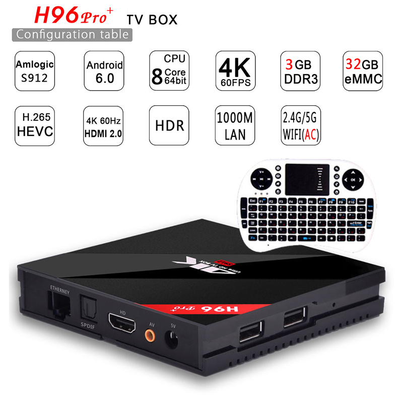 [Hakiki] h96 pro artı 3g 32g Akıllı TV Kutusu Android 7.1 Amlogic S912 OCTA Çekirdekli Wifi 4 K H.265 h96 media player h96pro set top box