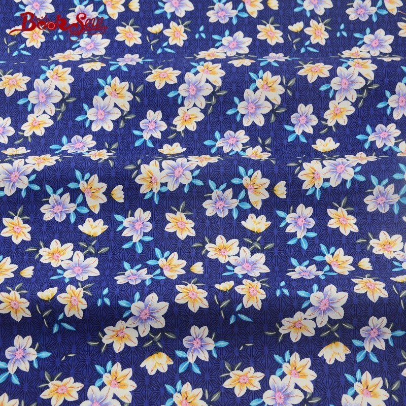 Booksew Cotton Poplin Fabric Dress Blue Children&39;s Bed Sheets Crafts Fat Quarter Meter Shirt Quilting Bedding Home Decoration